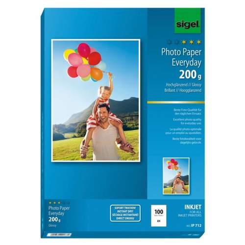 Inkjet Fotopapier A4 200g SIGEL IP712 Everyday P 100Blatt