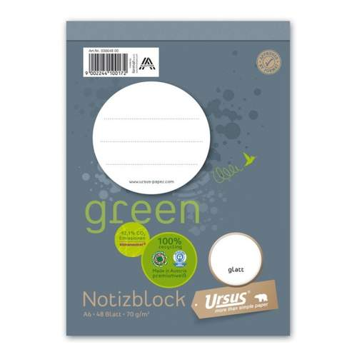 Notizblock A6 48 Blatt blanko URSUS green 036648 00 perforiert