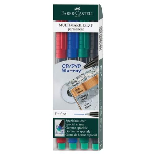 Overheadstift 4 Stück Multim sort. FABER CASTELL 151304 F